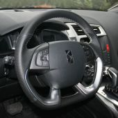 For Citroen DS5 DS 5 DS4S DS 4S, Black Leather Sides Perforated Hand Sewing Steering Wheel Wrap Cover