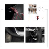 For Hyundai Kona 2017 2018 2019, Customize Black Leather Hand Sewing Steering Wheel Wrap Cover