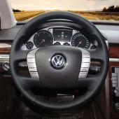 For Volkswagen VW Phaeton 2011 2012 2013 2014 2015, Custom Black Leather Hand Stitch Steering Wheel Cover