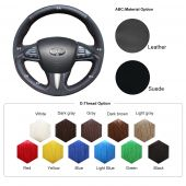 For Infiniti Q50 2014 2015 2016 2017 QX50 2015 2016 2017, Black Leather Suede Hand Sew Steering Wheel Wrap Cover
