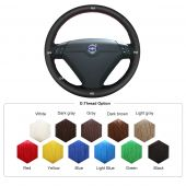For Volvo S80 2004 2005 XC70 2004 2005 2006 2007, Custom Leather Sides Perforated Hand Stitched Wrap Steering Wheel  Cover