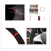 For Mercedes Benz S-Class 2014-2017, Design Black Suede Leather Cover Steering Wheel Skin