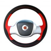 For Smart Fortwo, Custom Genuine Black Leather Suede Hand Sewn Steering Wheel Cover