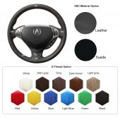 For Acura TL 2007 TL Type-S 2007, Custom Genuine Leather Hand Sewing Steering Wheel Cover