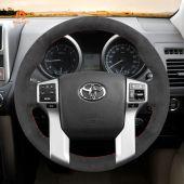MEWANT Hand Stitch Dark Grey Alcantara Car Steering Wheel Cover for Toyota Land Cruiser Prado Tacoma Tundra Sequoia