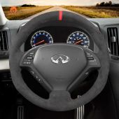 MEWANT Hand Sewing High Quality Dark Grey Alcantara Car Steering Wheel Cover for Infiniti G25 G35 G37 2007-2013 EX35 EX37 2008-2013 Q40 Q60 2014 2015 QX50 2014-2018