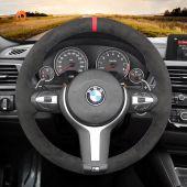 MEWANT Dark Grey Alcantara Car Steering Wheel Cover for BMW M Sport F30 F31 F34 F10 F11 F07 / F12 F13 F06 X3 F25 X4 F26 X5 F15 M50d X6 F16 M50d F20 F21 M135i M140i F45 F46 F22 F23 M235i M240i F32 F33 F36 X1 F48 X2 F39