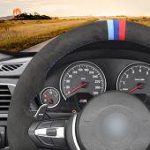 MEWANT Hand Stitch Dark Grey Alcantara Car Steering Wheel Cover for BMW M Sport F30 F31 F34 F10 F11 F07 / F12 F13 F06 X3 F25 X4 F26 X5 F15 M50d X6 F16 M50d F20 F21 M135i M140i F45 F46 F22 F23 M235i M240i F32 F33 F36 X1 F48 X2 F39