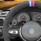 MEWANT Dark Grey Alcantara Black Alcantara Car Steering Wheel Cover for BMW M Sport F30 F31 F34 F10 F11 F07 / F12 F13 F06 X3 F25 X4 F26 X5 F15 M50d X6 F16 M50d F20 F21 M135i M140i F45 F46 F22 F23 M235i M240i F32 F33 F36 X1 F48 X2 F39