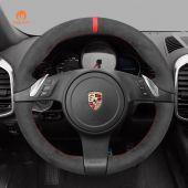 MEWANT Hand Stitch Dark Grey Alcantara Car Steering Wheel Cover for Porsche 911 (991) 2009-2016 / Boxster (981) 2009-2016 / Cayman (981) 2009-2016 / Cayenne 2011-2014 / Panamera 2010-2016