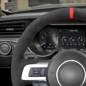 MEWANT Hand Stitch High Quality Dark Grey Alcantara Material Car Steering Wheel Cover for Ford Mustang 2015 2016 2017 2018 2019 2020