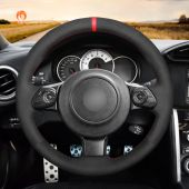 MEWANT Hand Stitch Black Alcantara Material Car Steering Wheel Cover for Toyota 86 (GT86) 2016-2020 / for Subaru BRZ 2016-2020