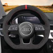 MEWANT Hand Stitch Dark Grey Alcantara Car Steering Wheel Cover for Audi A1 (8X) Sportback A3 (8V) A4 (B9) Avant A5 (F5) Q2 2016-2019