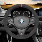 MEWANT Hand Stitch Black Alcantara Car Steering Wheel Cover for BMW M Sport M3 E90 E91 E92 E93 / E87 E81 E82 E88 / X1 E84 / M3 E90 E92 E93
