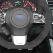 MEWANT Hand Stitch Dark Grey Alcantara Material Car Steering Wheel Cover for Subaru WRX (STI) Levorg 2015 2016 2017 2018 2019