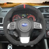 MEWANT Hand Sewing Dark Grey Alcantara Material Car Steering Wheel Cover for Subaru WRX (STI) Levorg 2015 2016 2017 2018 2019