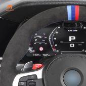 MEWANT Hand Stitch Dark Grey Alcantara Car Steering Wheel Cover for BMW M3 G80 M4 G82 G83 M5 F90 M8 F91 F92 F93 3 M F97 X4 M F98 X5 M F95 X6 M F96