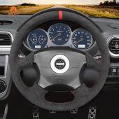 MEWANT Hand Stitch Dark Grey Alcantara Car Steering Wheel Cover for Subaru Impreza WRX 2002-2004 / Impreza WRX STI 2004