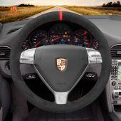 MEWANT Hand Stitch Alcantara Car Steering Wheel Cover for Porsche 911 (997) 2004-2009 / Boxster (987) 2005-2009 / Cayman (987) 2005-2009
