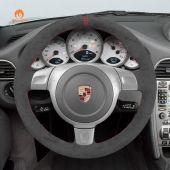 MEWANT Hand Stitch Dark Grey Alcantara Material Car Steering Wheel Cover for Porsche 911 (997) 2004-2009 / Boxster (987) 2005-2009 / Cayman (987) 2005-2009