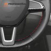 MEWANT Black Artificial Genuine Leather Carbon Fiber Car Steering Wheel Covers for Skoda Citigo Fabia Karoq Roomster Rapid Octavia Superb Yeti Kodiaq