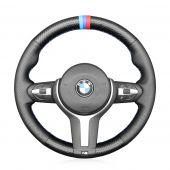 MEWANT Hand Stitch Black Leather Suede Carbon Fiber Car Steering Wheel cover for BMW F30 F31 F34 F20 F21 F45 F22 F23 F32 F33 F36 F10 F11 F07 F18 F06 F12 F13 F48 F39 F25 F26 F15 F16