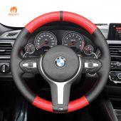 MEWANT Red Carbon Fiber Black Leather Car Steering Wheel Cover for BMW M Sport F30 F31 F34 F10 F11 F07 / F12 F13 F06 X3 F25 X4 F26 X5 F15 M50d X6 F16 M50d F20 F21 M135i M140i F45 F46 F22 F23 M235i