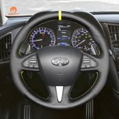 MEWANT Hand Stitch Black PU Leather Real Genuine Leather Carbon Fiber Car Steering Wheel Cover for Infiniti Q50 2014-2017 QX50 2015-2017