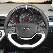 MEWANT Hand Stitch Black PU Leather Real Genuine Leather Suede Carbon Fiber Car Steering Wheel Cover for Kia Morning 2011-2016 / Picanto 2012-2015