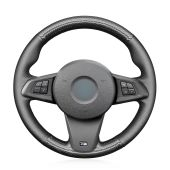 MEWANT Hand Stitch Sewing Black Leather Carbon Fiber Car Steering Wheel Cover Wrap for BMW Z4 E89 2009-2016