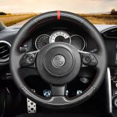 MEWANT Hand Stitch Black Leather Suede Carbon Fiber Car Steering Wheel Cover for Toyota 86 (GT86) 2016-2020 / for Subaru BRZ 2016-2020