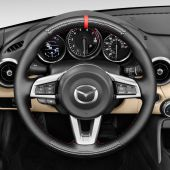 MEWANT Hand Sewing Anti-Slip Black Artificial Genuine Real Leather Suede Carbon Fiber Car Steering Wheel Cover for Mazda MX-5 2016 2017 2018 2019