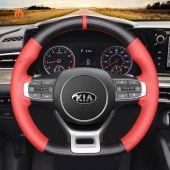 MEWANT Hand Stitch Carbon Fiber Red Leather Car Steering Wheel Cover for Kia Optima / Kia K5 GT GT-Line Sedan 2021-2022