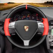 MEWANT Hand Stitch Carbon Fiber Red Leather Car Steering Wheel Cover for Porsche 911 (997) 2004-2009 / Boxster (987) 2005-2009 / Cayman (987) 2005-2009