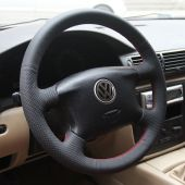 MEWANT Hand Stitch Black PU Leather Real Genuine Leather Suede Car Steering Wheel Cover for Volkswagen VW Golf 4 Passat B5 Sharan Bora Seat Alhambra