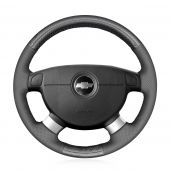 MEWANT Black Suede Genuine Leather Car Steering Wheel Cover for Chevrolet Lova 2006-2010 Chevrolet Aveo Buick Excelle Daewoo Gentra 2013-2015