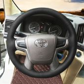 MEWANT Hand Stitch Black Real Genuine Leather PU Leather Car Steering Wheel Cover for Toyota Land Cruiser 2015-2020 Land Cruiser Prado 2017-2020 Crown 2012-2018