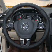 MEWANT Hand Stitch Black Real Genuine Leather PU Leather Car Steering Wheel Cover for Volkswagen VW Tiguan Golf Plus Passat CC Touran Jetta Sharan EOS Amarok Caddy California Caravelle