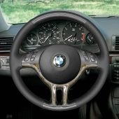 For BMW E39 E46 325i E53 X5 Black Leather PU Carbon Fiber Comfortable Soft Hand Sew Wrap Car Steering Wheel Cover