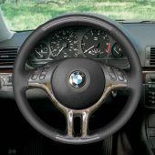 MEWANT Hand Sew Wrap Black Genuine Leather PU Carbon Fiber Car Steering Wheel Cover for BMW E46 318i 325i 330ci / E39 / X5 E53 / Z3 E36/7 E36/8