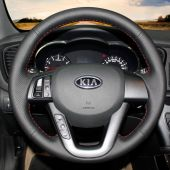 MEWANT Hand Stitch Black Real Genuine Leather PU Leather Car Steering Wheel Cover for Kia K5 Optima 2011 2012 2013