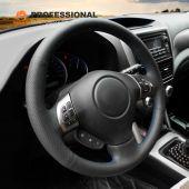 MEWANT Hand Stitch Black PU Genuine Leather Car Steering wheel Cover for Subaru Forester 2008-2012 Impreza 2008-2011 Legacy 2008-2010 Outback 2008-2009 Impreza WRX (WRX STI) 2008-2014 Exiga 2009