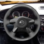 For Nissan Almera N16 Primera Pathfinder Paladin X-Trail,MEWANT Black PU Carbon Fiber Steering Wheel Cover Wrap Protect