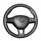 MEWANT Black Artificial Real Genuine Leather Suede Car Steering Wheel Covers for Skoda Citigo Fabia Karoq Roomster Rapid Octavia Superb Yeti Kodiaq