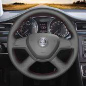 For Skoda Octavia 2014 Fabia 2013,MEWANT Custom Handsewing Black Leather Steering Wheel Cover Wrap Protect