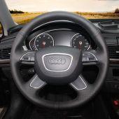 MEWANT Black PU Leather Genuine Leather Car Steering Wheel Cover for Audi Q7 2012-2015 Q3 Q5 2013-2016 A4 (B8) 2014 2015 A6 (C7) 2014-2016, Custom Genuine Leather Wrap Steering Wheel Cover