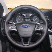 MEWANT Hand Stitch Black Real Genuine Leather Car Steering Wheel Cover for Ford Focus 2015-2018 Kuga 2016-2019 C-MAX (Grand C-Max) 2015-2020 Ecosport 2017-2020