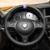 MEWANT Black Suede Artificial Genuine Leather Car Steering Wheel Cover for BMW 3 Series E46 / 5 Series E39 / M3 E46 / M5 E39
