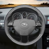 MEWANT Hand Stitch Black PU Leather Real Genuine Leather Suede Car Steering Wheel Cover for Opel Astra (H) 2004-2009 / Zaflra (B) 2005-2014 / Signum 2005-2009 / Vectra (C) 2005-2009