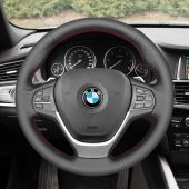 MEWANT Hand Stitch PU Leather Real Genuine Leather Car Steering Wheel Cover for BMW X3 F25 2011-2017 / X4 F26 2014-2018